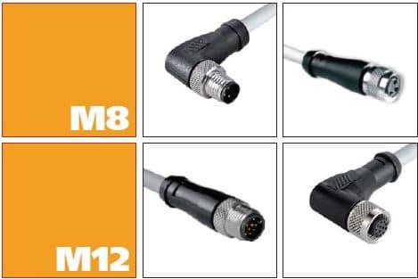 Förkablerade M8 och M12 kontakter