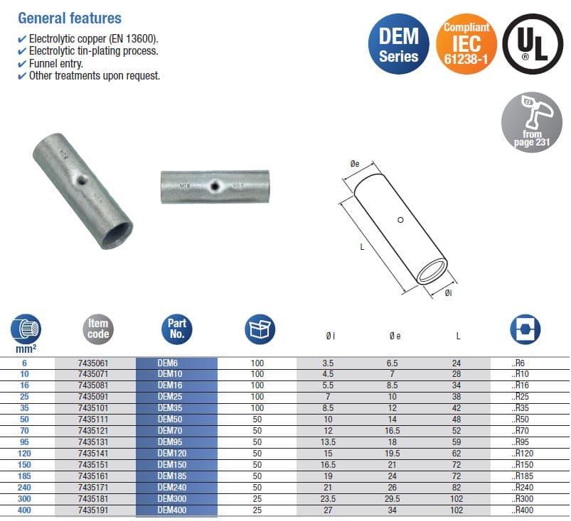 Skarvhylsor för olika dimensioner, IEC61238-1,UL